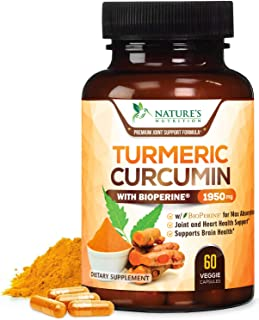 Turmeric Curcumin Highest Potency 95% Curcuminoids 1950mg with BioPerine Black Pepper for Ultra High Absorption, Made in U...