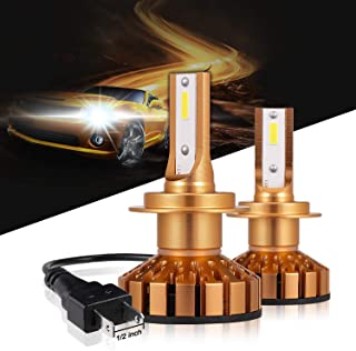 H7 LED Headlight Bulbs 50W 10000 Lumens 6000K Xenon White Extremely Bright COB Chips Error-free Led Conversion Kit Motorcycle and Car Headlight by Max5-2 Yr Warranty