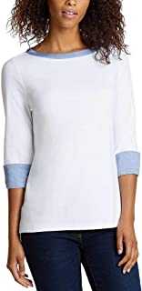 Nautica Women`s 3/4 Cuffed Sleeve Chambray Casual Top