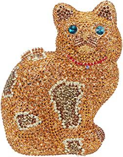 Chain Evening-Bags Ladies Diamante Crystal Womens Purse-Clutch Luxury Sparkly Wedding Cat Orange