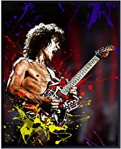 Eddie Van Halen Poster - 8x10 Wall Art Print for Man Cave, Game or Rec Room - Contemporary Home Decor Picture - Cool Unique Gift for 80's Eighties Music Fan and Musician, Guitar Player - UNFRAMED
