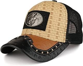 Straw Design Metallic Rodeo Cowboy Horse Metal Logo Trucker Mesh Baseball Cap