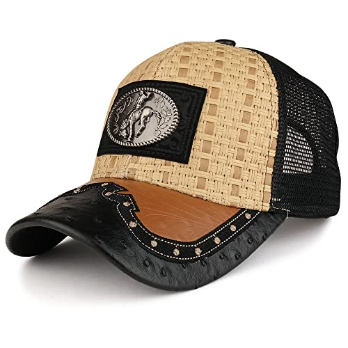 a586d593afe Trendy Apparel Shop Straw Design Metallic Rodeo Cowboy Horse Metal Logo Trucker  Mesh Baseball Cap