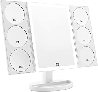 [2019 X-Large 3-Color Lighted Model] Trifold Vanity Makeup Mirror with 44 LED Lights and Dual Magnifying Panels (3X/5X/10X...