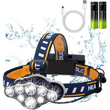 YTFSUCT Rechargeable Headlamp,2021 Newest 8 LED 18000 Lumen Super Bright Waterproof Headlight Flashlight with Red Lights,USB Rechargeable Head Lamp, 8 Modes for Outdoors/Father's Day Gifts