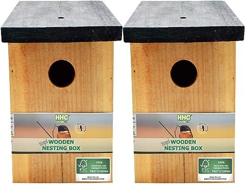 2 x Handy Home and Garden Nichoir en Bois Traité à la Pression Boîte de Nidification Maison d'Oiseau Sauvage - Fabriq...
