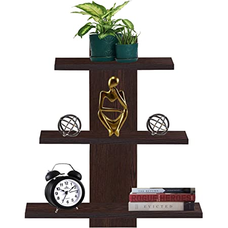 Furniture Cafe® Wooden Wall Shelf Home Decor Items Rack Floating Book Shelves For Living Room, Bedroom, Kitchen Corner, Office 3Tiers | Size- Standard | Colour- Dusky Brown Reflection With Matte Finish