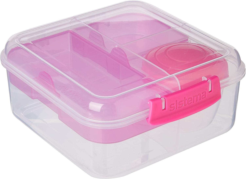 Sistema Bento Cube Box para ir con frutas/yogur olla, transparente/Rosa, 1.25L