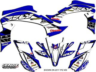 Senge Graphics kit compatible with Yamaha 2003-2008 YFZ 450 (Steel Frame), 13 Fly Racing Blue Graphics Kit