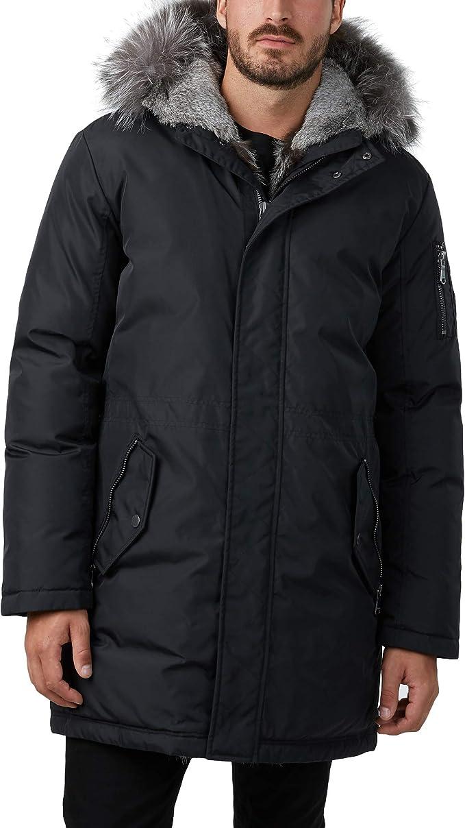 Pajar Men's Mick Luxury Down Bomber Jacket with Real Fur Split Hood