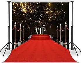 LYWYGG 10x10FT La alfombra roja que brilla con estrellas brillantes que simboliza éxito Fotografía Telón de fondo Recién nacido Kids Studio CP-45