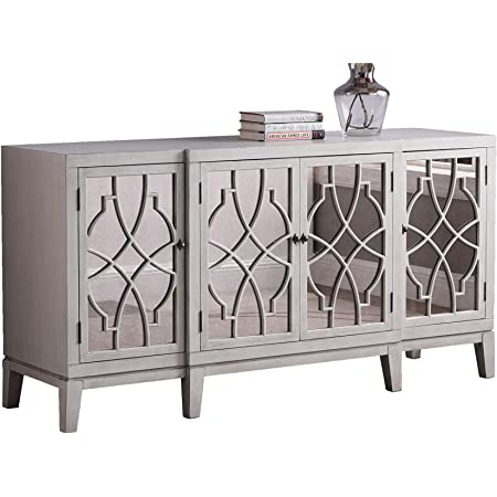 Amazon Com Best Master Furniture Tiffany Cottage Style Mirrored Sideboard Antique Beige Buffets Sideboards