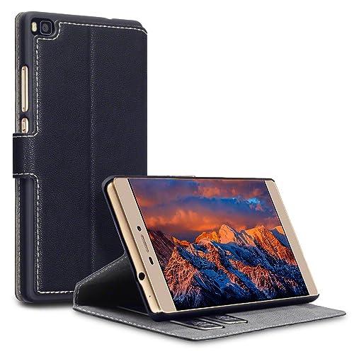 Huawei P8 Accessoires, Terrapin Étui Housse en Cuir Ultra-mince Avec La Fonction Stand pour Huawei Ascend P8 Coque Cuir - Noir