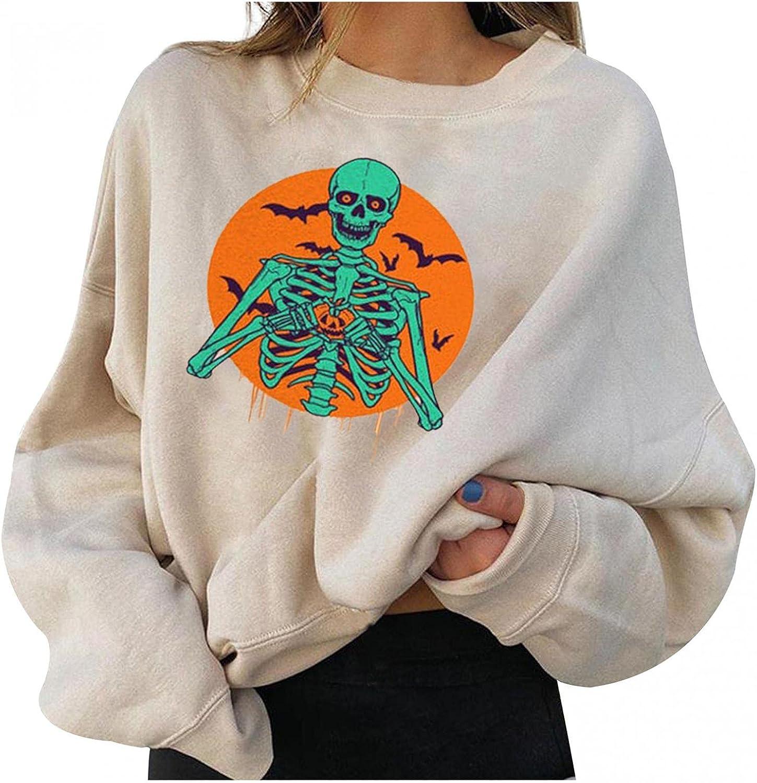 Print Sweatshirts for Women Graphic Skull Halloween Sweatshirts Long Sleeve Hooded Pullover Tops Lightweight