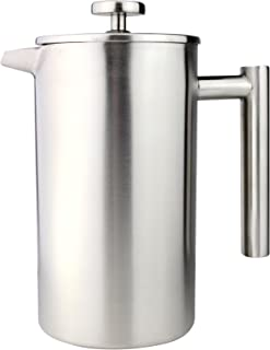 Grunwerg 6 Cup Double Walled Cafetière Plunger Coffee Maker - 18/10 Stainless Steel - Straight Sided - Satin