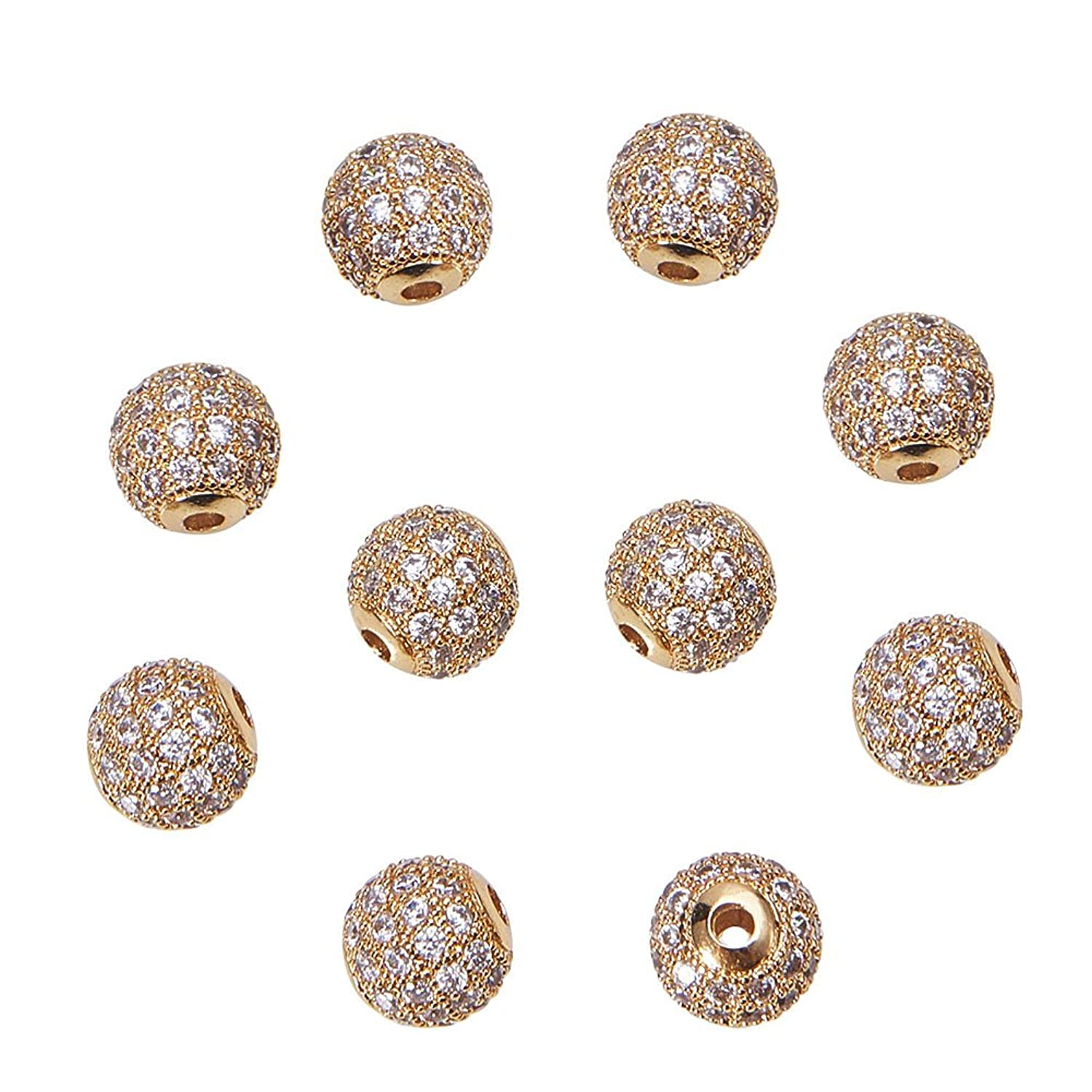 LUXPACK 10pcs 8mm Brass Clear Gemstones Cubic Zirconia CZ Stones Pave Micro Setting Disco Ball Spacer Beads, Round Bracelet Connector Charms Beads for Jewelry Making, Gold