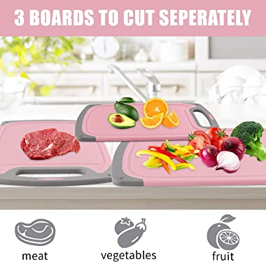Cutting Boards for Kitchen, Plastic Chopping Board Set of 4 with Non-Slip Feet and Deep Drip Juice Groove, Easy Grip Handle,