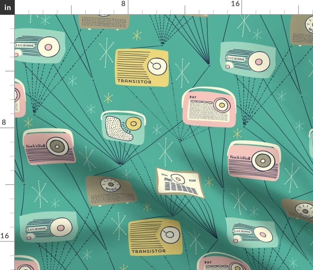 Spoonflower Fabric - Mid トラスト Century Stars Vintage Radio Star 即納送料無料 Atomic