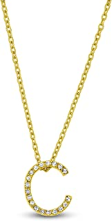 14K Solid Yellow Gold Natural Diamond 'C' Initial Letter Pendant Necklace