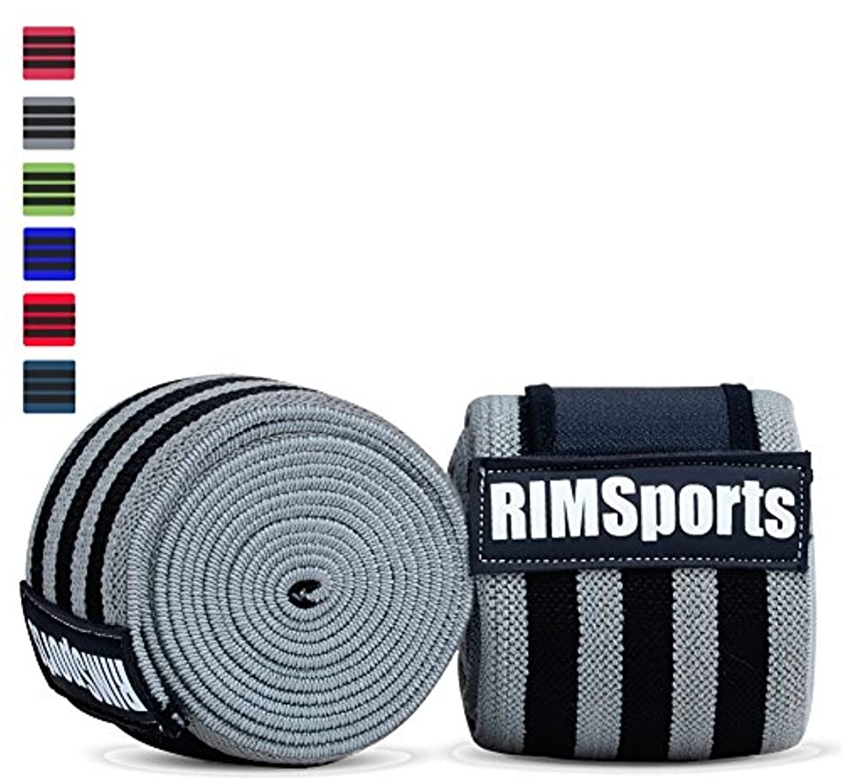 RIMSports Best Weight Lifting Knee Wraps (Pair) for Cross Training WODs, Gym Workout, Weightlifting, Fitness & Powerlifting - Knee Straps for Squats - For Men & Women- 80