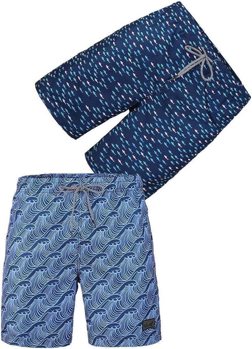 BG 2-Pcs Pack Men's Design Pocket Workout Floral Print College Pocket Beachshorts