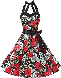 Inawayls _ Kleider & Röcke Inawayls 1950er Vintage Kleider Damen Rockabilly Cocktailkleid Neckholder 50er Retro Blumen Petticoat Faltenrock Cocktail Festliche Kleider