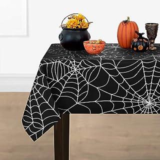 ASPMIZ Halloween Tablecloth, Spider Web Black Background Table Cloth, Cobweb Scary Themed Tablecloth, Machine Washable Tab...