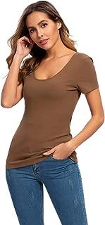 Nasperee Women Short Sleeve Scoop Neck Tee Shirt Basic Solid Casual Cotton Layer Shirts