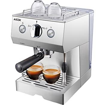 AICOK Cafetera Espresso, 1140W, Depósito extraíble de 1,5 l, 20 Bares, Doble opción de preparación de café: Sistema tradicional de café molido, Boquilla de Espuma de Leche Profesional: Amazon.es: Hogar
