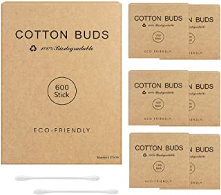 600pk Paper Stick Cotton Buds with Eco Friendly Packaging,Biodegradable Cotton Buds for Cleaning Ear and Doing Makeup from...