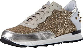 Glitter Run, Exclusive Low top Glitter Sneaker for Ladies, Made in Italy, Calfskin with Rivets