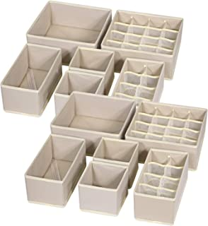 TENABORT 12 Pack Foldable Drawer Organizer Dividers Cloth Storage Box Closet Dresser Organizer Cube Fabric Containers Basket Bins for Underwear Bras Socks Panties Lingeries Nursery Baby Clothes Beige