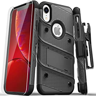 ZIZO Bolt Series iPhone XR Case Military Grade Drop Tested with Tempered Glass Screen Protector Holster and Kickstand Metal Gray Black