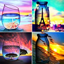 Yomiie 4 Pack 5D Diamond Painting Cup Landscape & Bottle Scenery Full Drill by Number Kits for Adults Kids, DIY Craft Starfish Eiffel Tower Tree & Beach Diamonds Arts Decorations (12x12 inch)
