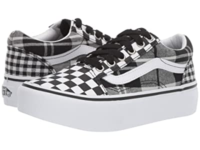 Vans Kids Old Skool Platform (Little Kid/Big Kid) ((Plaid Checkerboard) Black/True White) Girls Shoes