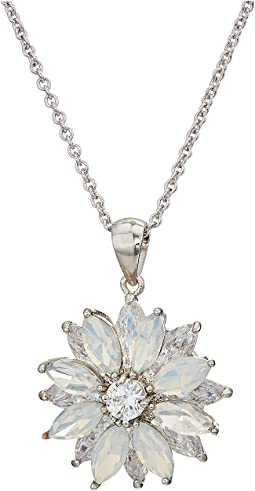 Opal Layered Floral Pendant Necklace