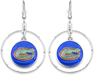 Sports Team Accessories Florida Gators Silver Tone Earrings with an Iridescent Blue and Orange Gator Logo Charm Inside Silver Tone Ring
