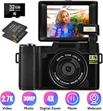 Digital Camera 30.0 MP Vlogging Camera 2.7K Full HD Vlog Camera with 3 Inch Flip Screen and Vlogging Camera for YouTube with 2 Batteries