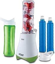 Russell Hobbs Mix & Go - Batidora de Vaso Individual (300 W, Batidora Smoothies, Sin BPA, Blanco y Verde, 2 vasos de 600 ml y 2 tubos refrigeradores) - ref. 21350-56