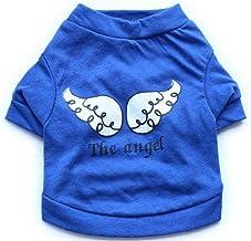 Cute Pet Costume Pet Clothes Cotton Print The Angle Wings Cat Dog T-Shirt Blue L