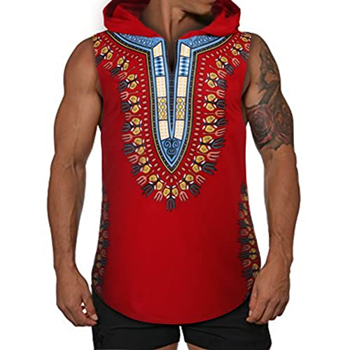 75bddbf0867 COOFANDY Mens African Print Dashiki Hooded Fashion Sleeveless Tank Top T  Shirts