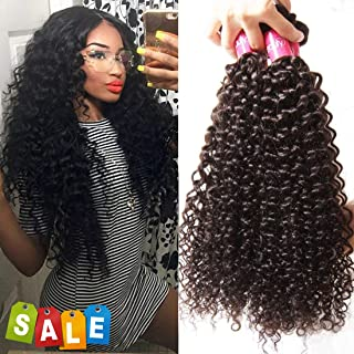 Dinoce Compatible with Longqi Beauty Brazilian Curly Virgin Hair 3 Bundles Unprocessed Remy Human Hair Weave Jerry Curly Thick Full Head Natural Black Color Short Bob Length 8 10 12 Inch
