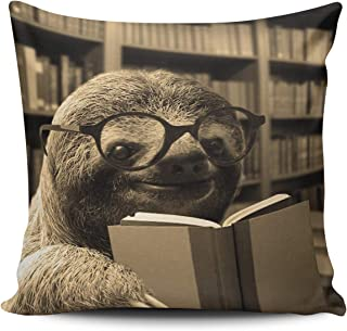 MUKPU Home Custom Decor Funny Sloth Reading Books Pillowcase Breathable Throw Pillow Case Hidden Zipper Double Sides Design Print Square 18x18 Inches