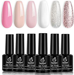 Beetles French White Gel Nail Polish Kit - 6 Pack Nude Pink Glitter Gel Polish Set Soak Off UV LED Lamp Nail Gel Manicure Kit Cured Gel Base Top Coat Needed DIY Home Salon Nail Art