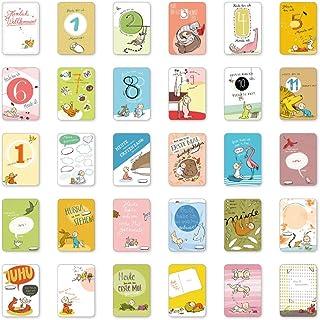 Mein 1. Kalender, 30 wundervolle Baby Meilensteinkarten Set,
