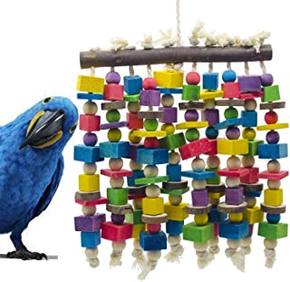 Delokey Large Bird Parrot Chewing Toy - Multicolored Natural Wooden Blocks Bird Parrot Tearing Toys Suggested for Large Macaws cokatoos,African Grey and a Variety of Amazon Parrots(15.7