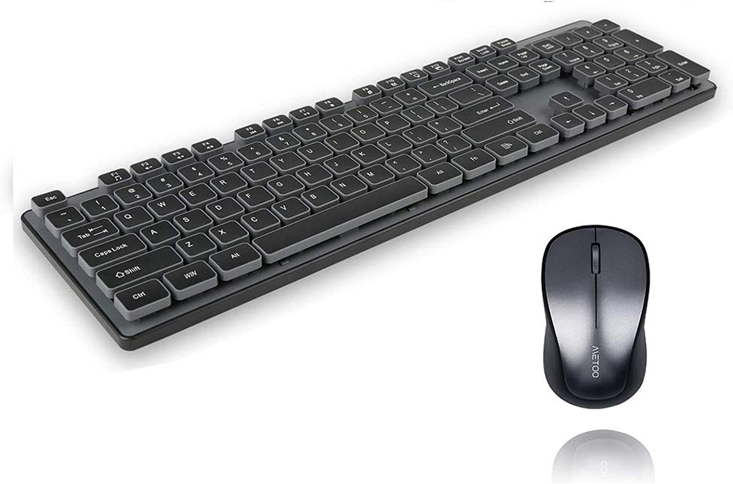Wireless Keyboard and Mouse Combo,Sosee 2.4Ghz Ultra-Slim Full Size Suspension Keycap Mute Cute Keyboard Optical Mouse Set for Home Office PC Laptop Windows XP/7/8/10/Mac (Black)