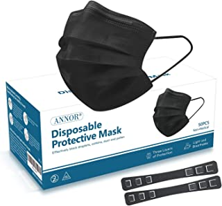 Black Face Mask, Black Disposable Face Mask with 2 Mask Strap Extender, Anti Pollen Dust Masks, Daily Protection Mask with...
