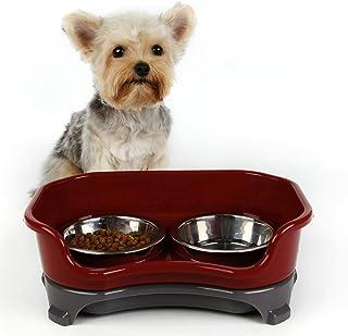 ペットボウル ペット食器 ステンレス 2個 フードボウル 犬猫用 小型 中型 滑り止め こぼれ防止 スタンドセット 高まり (Red)