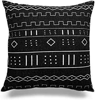 Acelive 20x20 Inches Decorative Throw Pillow Case African Mud Cloth Print Bogolan Pattern Heavy Weight Fabric Cushion Cover for Sofa Home Office Decorative